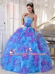 Sweetheart Appliques and Ruffles Organza Traditional Quinceanera Dress