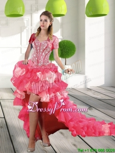 Most Popular Coral Red High Low Dama Dresses with Beading and Ruffled Layers