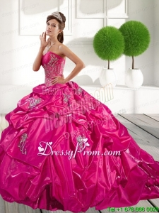 2015 Classical Appliques and Pick Ups Quinceanera Dress in Hot Pink