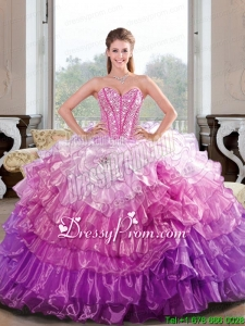 2015 Unique Beading and Ruffled Layers Multi Color Dresses for Quince