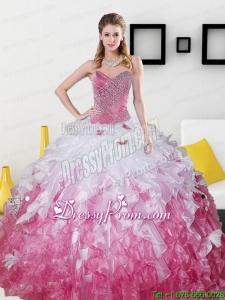 2015 Top Seller Sweetheart Exclusive Quinceanera Gowns with Beading and Ruffles