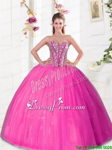 Beautiful Beading and Pick Ups 2015 Quinceanera Dresses in Hot Pink
