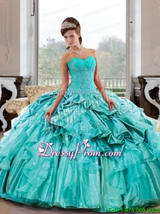 Exclusive Sweetheart 2015 Quinceanera Gown with Appliques and Pick Ups