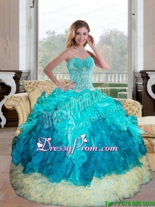 Exclusive Sweetheart Multi Color 2015 Quinceanera Gown with Appliques and Ruffles