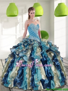 Multi Color Exclusive Quinceanera Gowns with Beading and Ruffles for 2015
