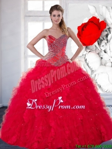 Sweetheart Red Exclusive Quinceanera Gowns with Beading and Ruffles