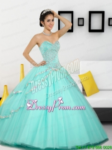 2015 Custom Made Beading Sweetheart Quinceanera Dresses in Apple Green