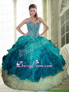2015 Custom Made Beading and Ruffles Sweetheart Quinceanera Dresses in Multi Color