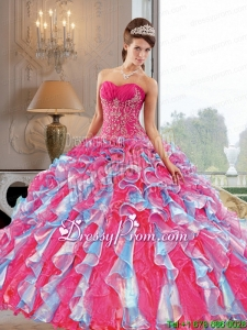 2015 Custom Made Quinceanera Dresses with Appliques and Ruffles
