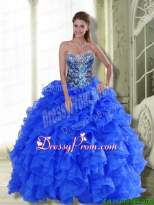Custom Made Strapless 2015 Quinceanera Dresses with Beading and Ruffles