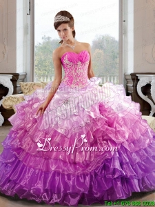 Elegant Sweetheart 2015 Quinceanera Dress with Appliques and Ruffled Layers