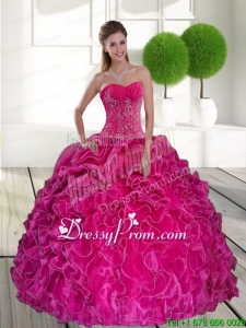 2015 Hot Pink Stylish Quinceanera Dresse with Ruffles and Appliques
