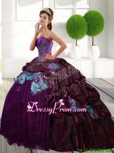2015 Stylish Quinceanera Dresses with Appliques and Pick Ups