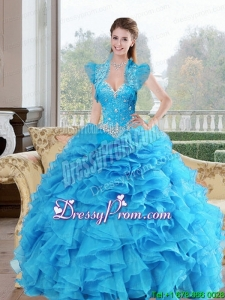 Stylish Beading and Ruffles Sweetheart 2015 Quinceanera Dresses in Baby Blue