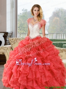 Stylish Beading and Ruffles Sweetheart Quinceanera Dresses for 2015