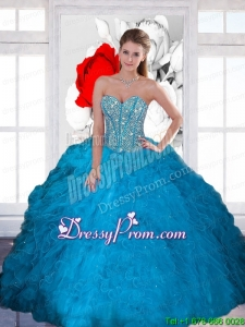 Stylish Beading and Ruffles Sweetheart Teal Quinceanera Dresses for 2015