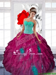 Sweetheart Appliques and Ruffles Stylish Quinceanera Dresses in Multi Color