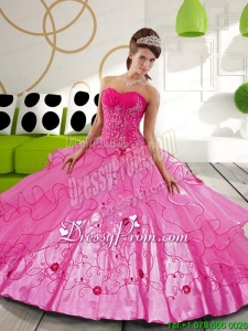 2015 Hot Pink Ball Gown Modern Quinceanera Dresses with Appliques