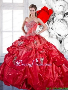 2015 Modern Beading and Appliques Red Quinceanera Dresses with Brush Train and Pick Ups