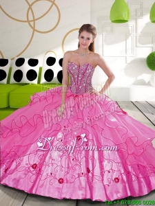 Modern Beading and Embroidery Hot Pink Quinceanera Dresses for 2015
