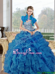 Modern Beading and Ruffles Sweetheart Quinceanera Dresses for 2015