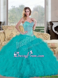 Stylish 2015 Ball Gown Quinceanera Dress with Beading and Ruffles