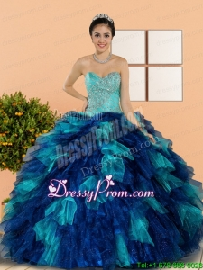 Stylish Sweetheart Beading and Ruffles Quinceanera Dresses in Multi Color
