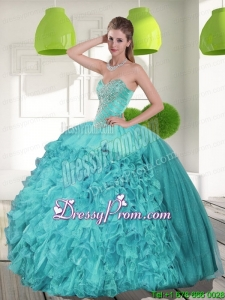 Modern Beading and Ruffles Strapless Aqua Blue Quinceanera Dresses for 2015