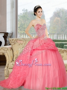 Sweetheart 2015 Modern Quinceanera Dresses with Beading and Ruffles