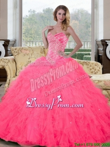 Sweetheart Beading and Ruffles Modern Quinceanera Dresses for 2015