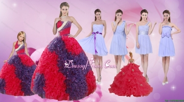 Elegant Multi Color Floor Length Quinceanera Dress and Ruching Short Dama Dresses and Multi Color Halter Top Little Girl Dre