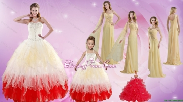 Strapless Beading Multi Color Quinceanera Dress and Beading Long Prom Dresses and Multi Color Halter Top Little Girl Dress