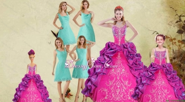 Multi Color Spaghetti Straps Ruffles Quinceanera Dress and Square Knee Length Dama Dresses and Beautiful Ball Gown Little Girl Dress