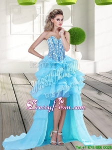 2015 Cheap Aqua Blue High Low Prom Dress with Beading and Ruffles