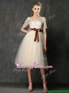 See Through Scoop Short Sleeves Dama Dress with Bowknot and Lace