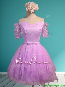 Sweet Lilac Off the Shoulder Short Sleeves Dama Dress with Appliques and Belt
