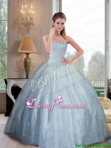 2015 Custom Made Sweetheart Ball Gown Quinceanera Dresses with Beading
