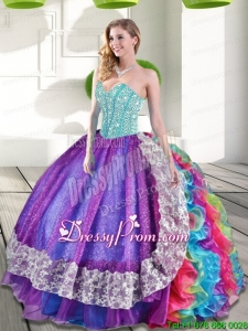 2015 Elegant Sweetheart Multi Color Quinceanera Dresses with Beading and Ruffles