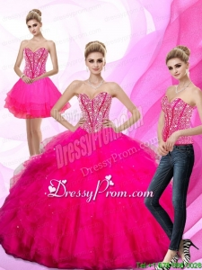 Beautiful 2015 Beading and Ruffles Sweetheart Quinceanera Dresses