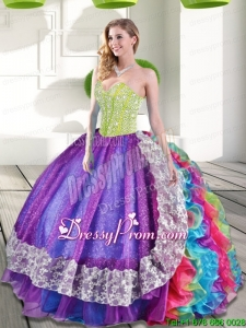 Custom Made Multi Color Sweetheart Beading and Ruffles 2015 Quinceanera Dresses