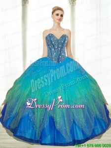 2015 Exclusive Beading Sweetheart Tulle Turquoise Quinceanera Gowns