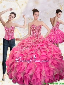 2015 Exclusive Sweetheart Quinceanera Gown with Beading and Ruffles