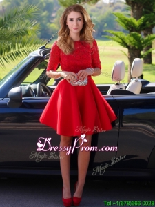 Exquisite Laced Scoop Half Sleeves Prom Dress in Red