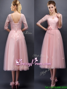 Comfortable Scoop Half Sleeves Prom Dress with Hand Made Flowers and Appliques