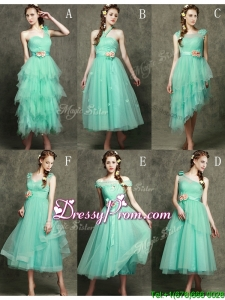 Exclusive Hand Made Flowers Ankle Length Prom Dress in Apple Green