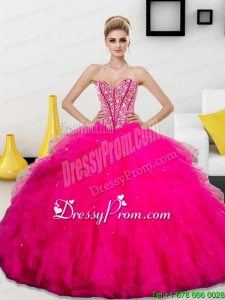 Modern Beading and Ruffles Sweetheart 2015 Quinceanera Dresses