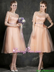 New Scoop Half Sleeves Prom Dress with Sashes and Lace