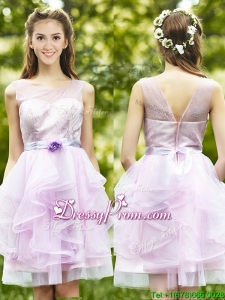 See Through Scoop Short Prom Dress with Sashes and Ruffles