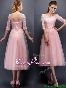 See Through V Neck Half Sleeves prom Dress with Lace and Belt