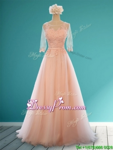 Classical Scoop Half Sleeves Prom Dress with Appliques and Belt